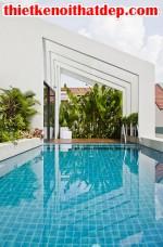 [Mẫu thiết kế nội thất đẹp] Bể bơi tuyệt đẹp trên nóc nhà 3 tầng ở Tp.HCM