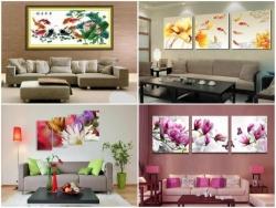 Thiết kế nội thất phòng khách đẹp với tranh treo tường