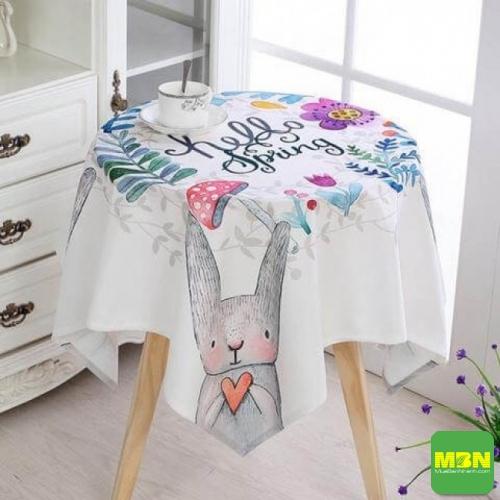 khăn trải bàn tròn chùm chânkhăn trải bàn tròn họa tiết hoa